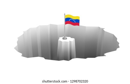 Economic recession, political crisis, financial meltdown, social fracture in Venezuela. Venezuelan flag in the middle of the abyss. 3d illustration