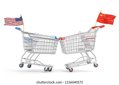 Economic trade war between the United States and China, concept of trading partners conflict, collision of two shopping carts with American and Chinese flags, isolated on white, 3d illustration