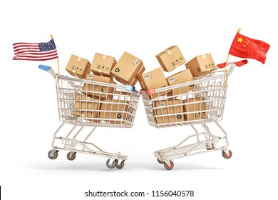 Economic trade war between the United States and China, collision of two shopping carts full of cardboard boxes with American and Chinese flags, isolated on white background, 3d illustration