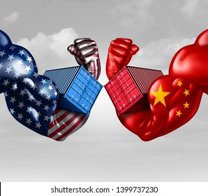 Economic trade war concept as a China dispute with USA or United States and American tariffs as a politics conflict with opposing import and exports fight concept with 3D illustration elements.