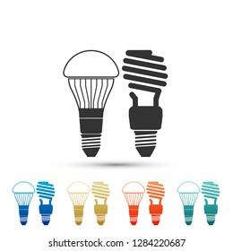 Economical LED illuminated lightbulb and fluorescent light bulb icon isolated on white background. Save energy lamp. Set elements in colored icons. Flat design.