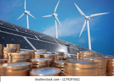 Economics of alternative energy. Money in front of solar panels and wind turbunes. 3D rendered illustration.