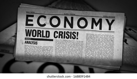 Economy and business newspapers with world crisis printing and disseminating 3d illustration. Crash stock, market collapse and financial media press production abstract concept.