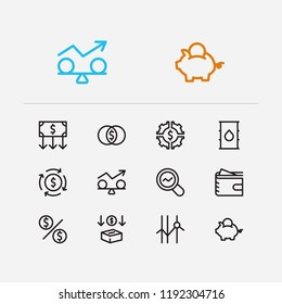 Economy icons set. Petroleum and economy icons with stability, mutual funds and savings. Set of diagram for web app logo UI design.