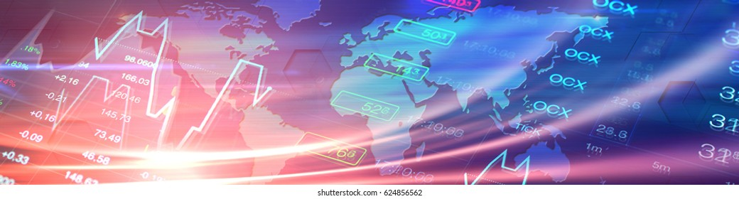 Economy illustration: world map at background of stock market charts and data. Header banner for global economy, finance, business themes and news.