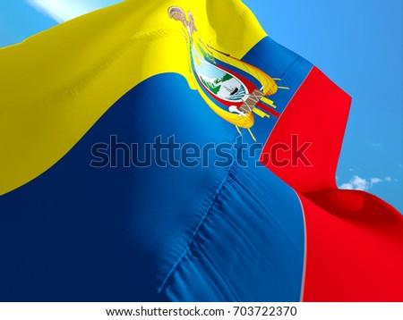Ecuador Flag 3 D Waving Flag Design Stock Illustration 703722370
