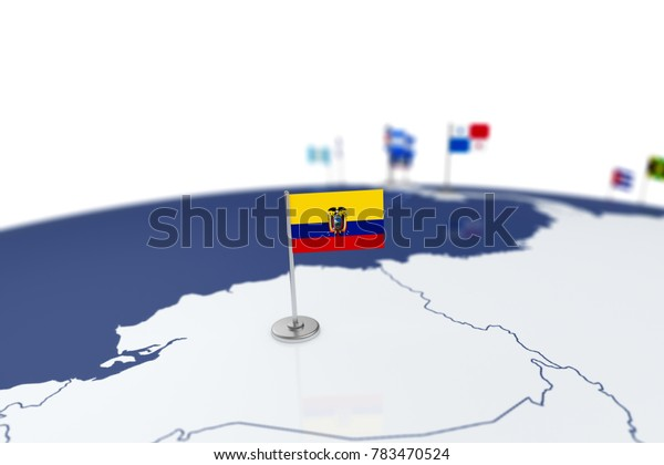 Ecuador flag. Country flag with chrome flagpole on the world map with neighbors countries borders. 3d illustration rendering flag