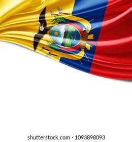 Ecuador flag of silk and white background-3D illustration