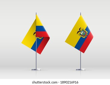 Ecuador flag state symbol isolated on background national banner. Greeting card National Independence Day of the Republic of Ecuador. Illustration banner with realistic state flag.