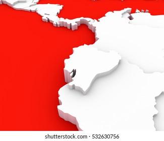 ecuador map 3D illustration
