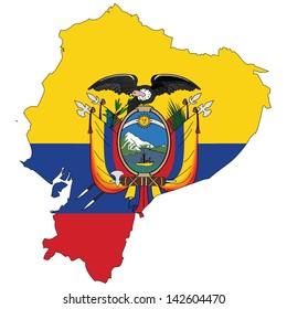 Ecuador map with the flag inside.