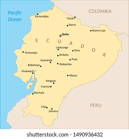 Ecuador region map with the main cities labels