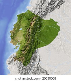 Ecuador. Shaded relief map with major urban areas. Surrounding territory greyed out. Colored according to vegetation. Includes clip path for the state area. Data source: NASA