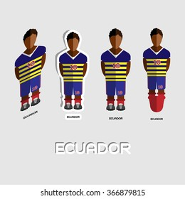 Ecuador Soccer Team Sportswear Template. Front View of Outdoor Activity Sportswear for Men and Boys. Digital background raster illustration. Stylish design for t-shirts, shorts and boots.