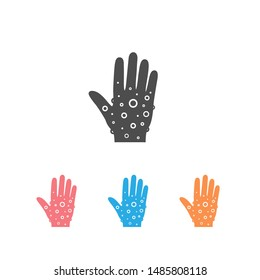 Eczema hand skin icon set. linear style sign for mobile concept and web design. Rash hand, allergic reaction outline vector icon. Symbol, logo illustration. Pixel perfect graphics