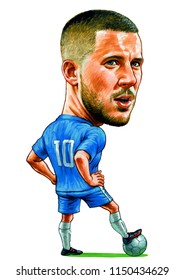 Eden Hazard is a Belgian professional footballer who plays for English clob Chelsea and the Belgium national team. Illustration,Caricature,Design,August,6,2018