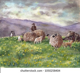 Eden valley. Painting of a sheep farmer with his sheep and dog on the Eden fells with the Pennine hills in the background