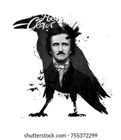 Edgar Allan Poe, drawing on isolated white background for print and web. Black and white composition and calligraphy for the interior. Painting graffiti on the wall. Design for a book.