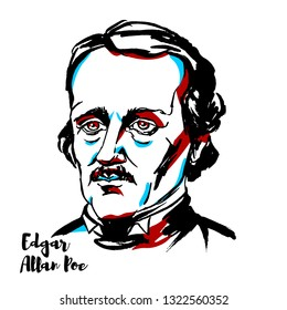 Edgar Allan Poe engraved portrait with ink contours. American writer, editor, and literary critic.
