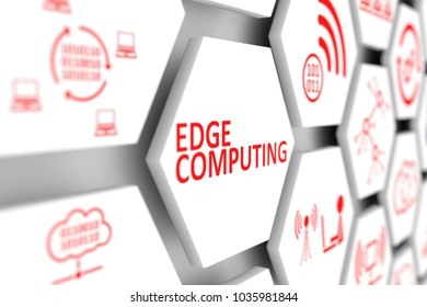 EDGE COMPUTING concept cell blurred background 3d illustration