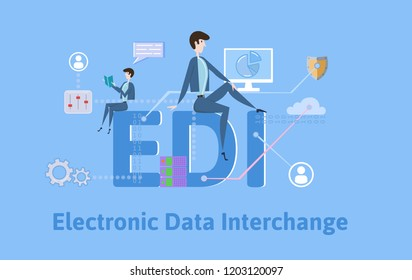 EDI, Electronic Data Interchange. Concept with keywords, letters and icons. Colored flat illustration on blue background. Raster version.