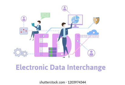 EDI, Electronic Data Interchange. Concept with keywords, letters and icons. Colored flat illustration on white background. Raster version.
