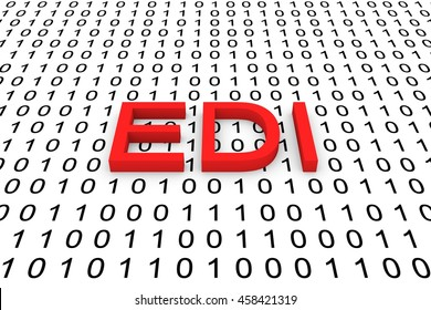 EDI in the form of binary code, 3D illustration