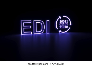 EDI neon concept self illumination background 3D illustration