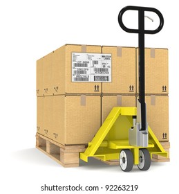 EDI. Pallet Truck/Jack and a Pallet With Cardboard Boxes. Sample EDI Label