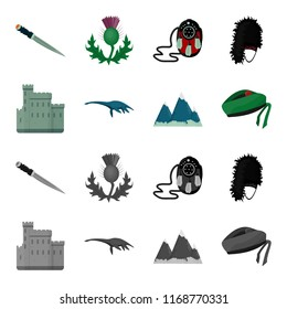 Edinburgh Castle, Loch Ness Monster, Grampian Mountains, national cap balmoral,tam o shanter. Scotland set collection icons in cartoon,monochrome style bitmap symbol stock illustration web.
