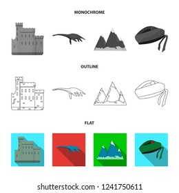 Edinburgh Castle, Loch Ness Monster, Grampian Mountains, national cap balmoral,tam shanter. Scotland set collection icons in flat,outline,monochrome style bitmap symbol stock illustration web.