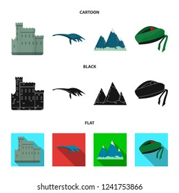 Edinburgh Castle, Loch Ness Monster, Grampian Mountains, national cap balmoral,tam shanter. Scotland set collection icons in cartoon,black,flat style bitmap symbol stock illustration web.