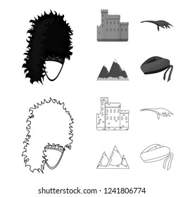 Edinburgh Castle, Loch Ness Monster, Grampian Mountains, national cap balmoral,tam shanter. Scotland set collection icons in outline,monochrome style bitmap symbol stock illustration web.