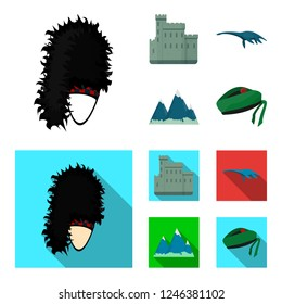 Edinburgh Castle, Loch Ness Monster, Grampian Mountains, national cap balmoral,tam shanter. Scotland set collection icons in cartoon,flat style bitmap symbol stock illustration web.