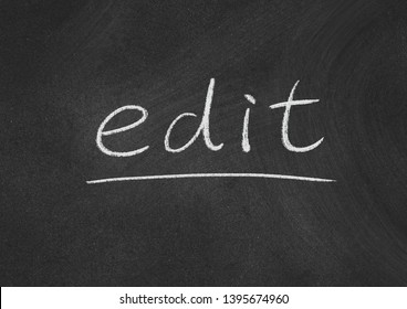 edit concept word on a blackboard background