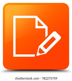 Edit document icon isolated on orange square button abstract illustration