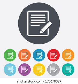 Edit document sign icon. Edit content button. Round colourful 11 buttons.