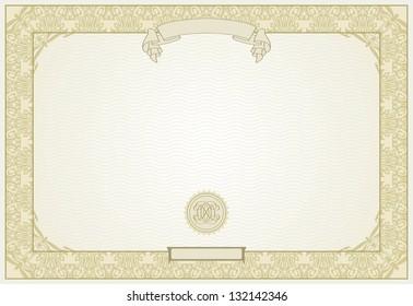 Editable Vector Certificate Template Ornamental Border Stock