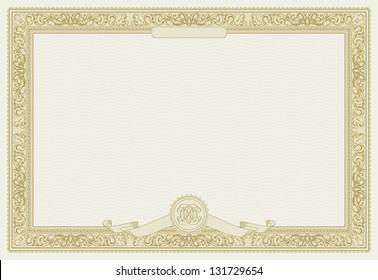 Editable vector certificate template with ornamental border. Raster version