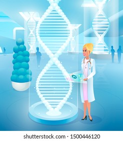 Editing, Correcting Genetic Code Mistakes, Treating Genetic Diseases Cartoon Concept with Smiling Female Doctor Working with Virtual Human DNA Model. Clinic of Future, Medicine Innovations