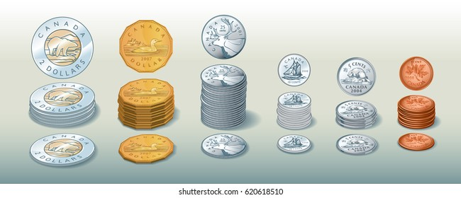Editorial Illustration of / Canadian Coin stacks / See other files in portfolio for similar vector versions.