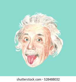 Editorial use - watercolor illustration of Albert Einstein on green background.