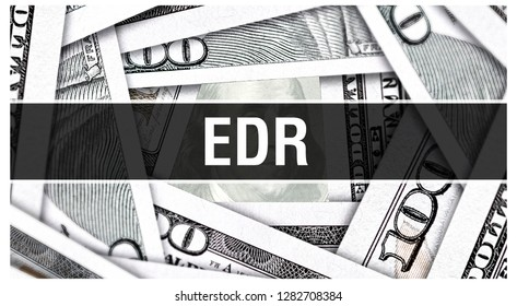 EDR Closeup Concept. European Depository Receipt. American Dollars Cash Money,3D rendering. EDR at Dollar Banknote. Financial USA money banknote Commercial money investment profit concept