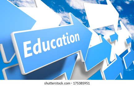 Education 3d render concept with blue and white arrows flying in a blue sky with clouds