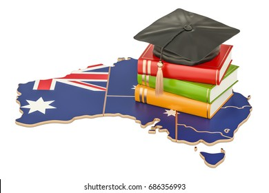 Education in Australia concept, 3D rendering isolated on white background