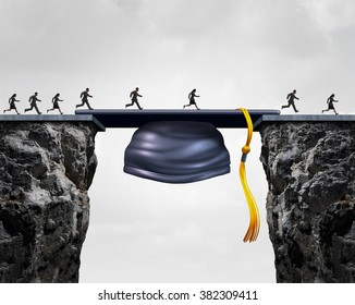 Education career opportunities concept as a group of graduating university students crossing a mortarboard or graduation cap as a bridge to opportunity and bridging the gap for business success.