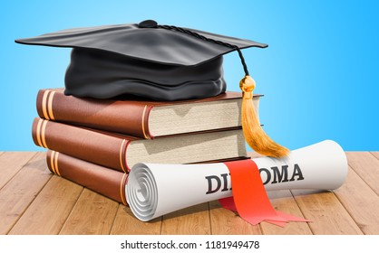 Education concept. Books with graduation cap and diploma on the wooden table. 3D rendering