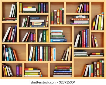 Books and textbooks on the bookshelf. 3d