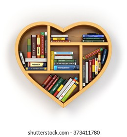 Bookshelf With Books And Textbooks In Form Of Heart I Love Reading