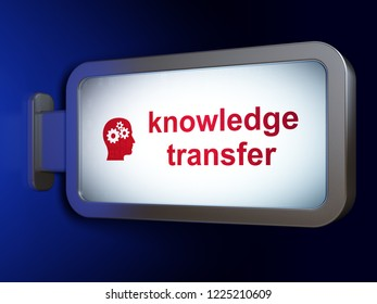 Education concept: Knowledge Transfer and Head With Gears on advertising billboard background, 3D rendering